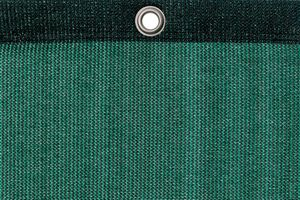 Detail picture of PE air permeable cover, 220 g, dark green, with eyelet and border on top