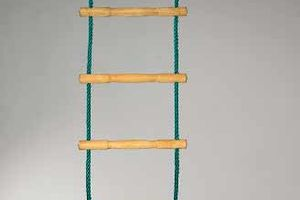 Rope ladder made of polypropylene with acacia wood rungs