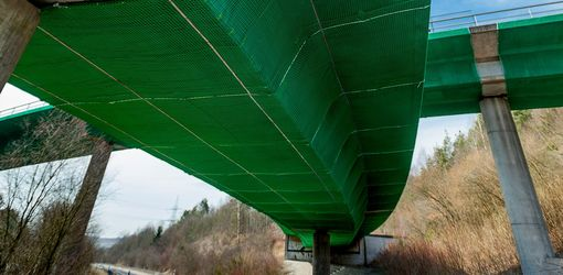 Safety nets for damaged bridges